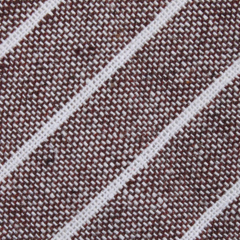 Mocha Brown Pinstripe Linen Pocket Square
