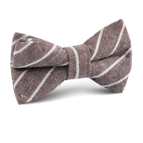 Mocha Brown Pinstripe Linen Kids Bow Tie