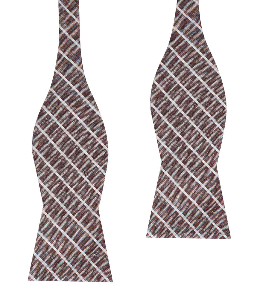 Mocha Brown Pinstripe Linen Self Bow Tie