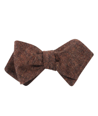 Monaco Brown Diamond Self Bow Tie