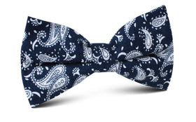 Moroccan Blue Paisley Bow Tie