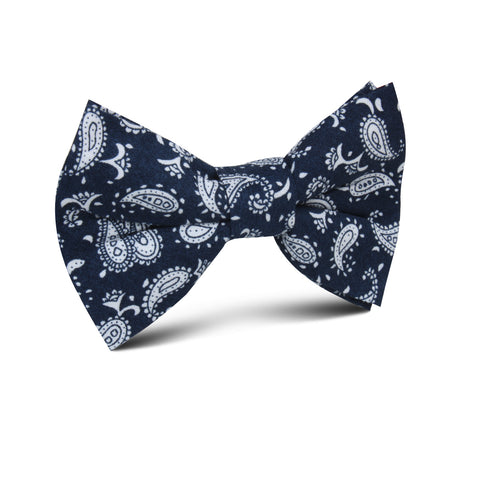 Moroccan Blue Paisley Kids Bow Tie