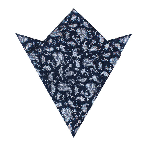 Moroccan Blue Paisley Pocket Square