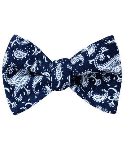 Moroccan Blue Paisley Self Bow Tie