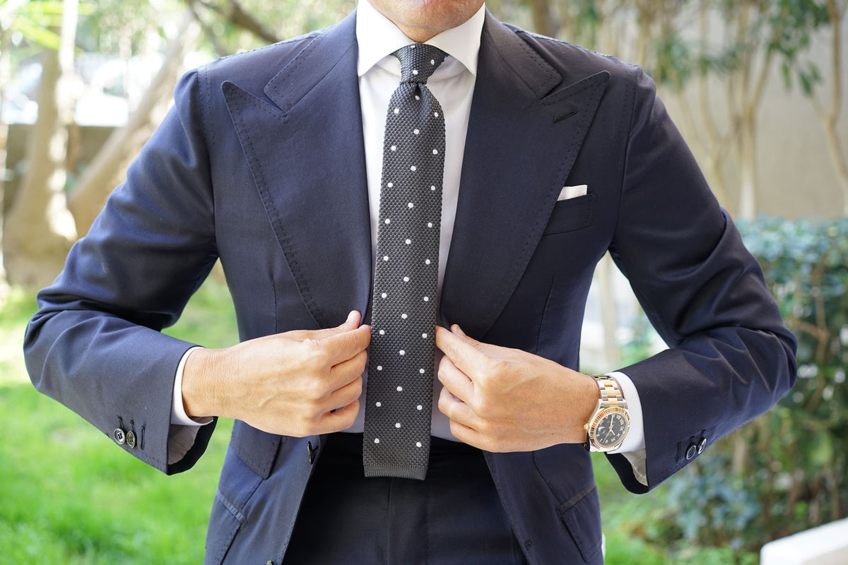 Mr. Mandela Charcoal Polkadot Knitted Tie