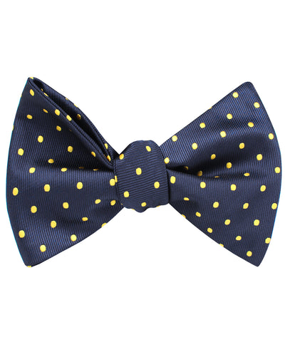 Mr Churchill Yellow Dots Self Bow Tie
