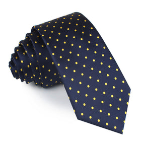 Mr Churchill Yellow Dots Skinny Tie