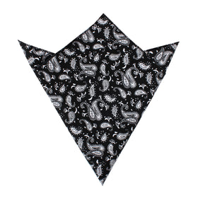 Mr Pollard Black Paisley Pocket Square