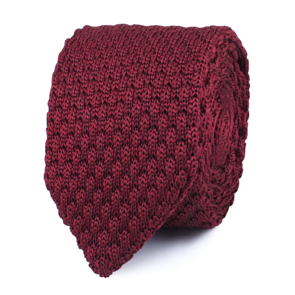 Mulled Burgundy Knitted Tie