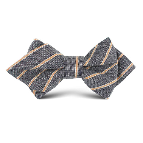 Mustard Pinstripe Kids Diamond Bow Tie