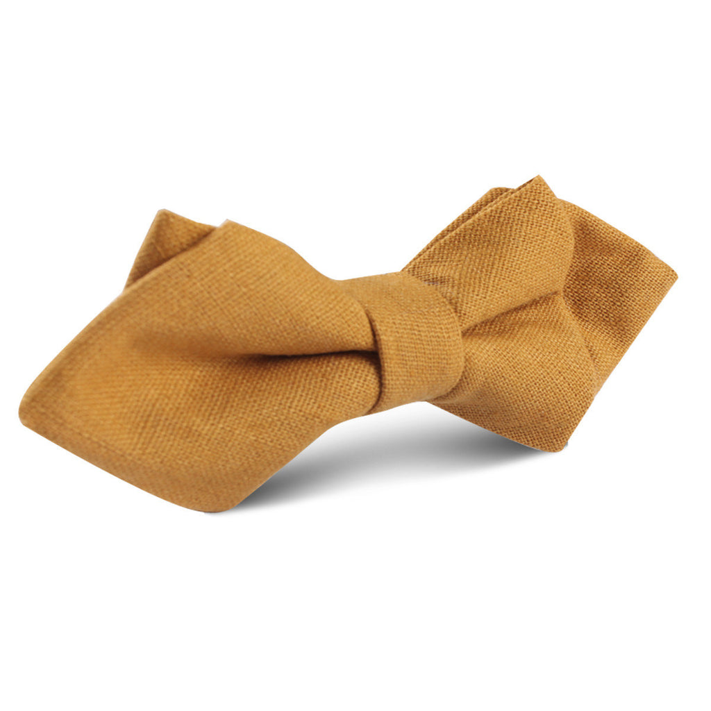 Mustard Yellow Slub Linen Diamond Bow Tie