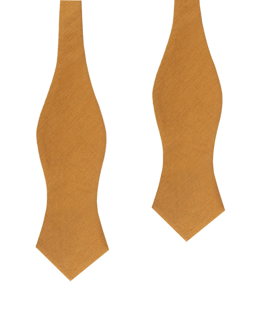 Mustard Yellow Slub Linen Diamond Self Bow Tie