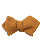 Mustard Yellow Slub Linen Diamond Self Bowtie