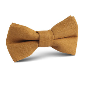 Mustard Yellow Slub Linen Kids Bow Tie