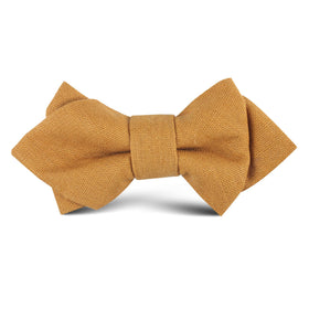 Mustard Yellow Slub Linen Kids Diamond Bow Tie