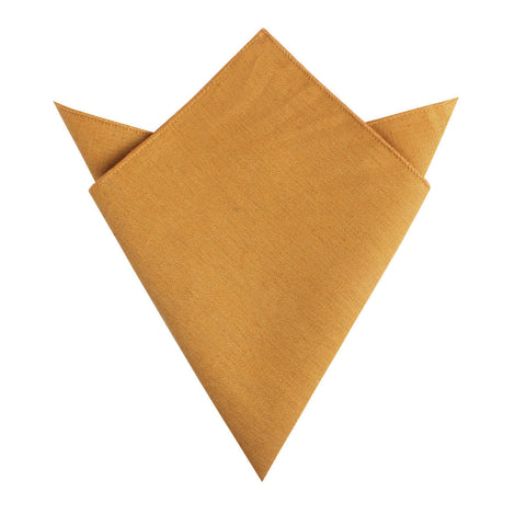Mustard Yellow Slub Linen Pocket Square