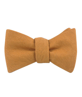 Mustard Yellow Slub Linen Self Bow Tie