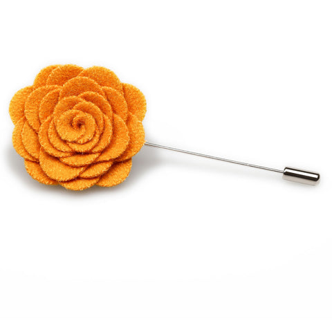 Mustard Yellow Wool Flower Lapel Pin