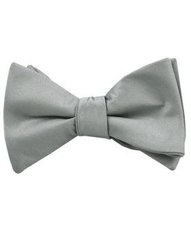 Mystic Silver Satin Self Bow Tie