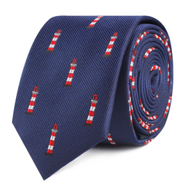 Nautical Lighthouse Skinny Tie