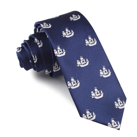 Nautical Pirate Ship Skinny Tie
