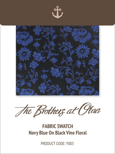 Fabric Swatch (Y003) - Navy Blue on Black Vine Floral