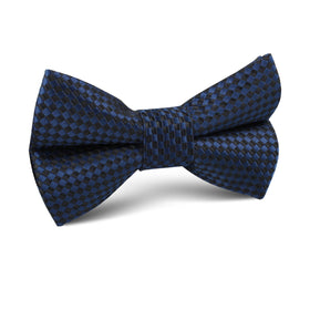 Navy Blue Basket Weave Checkered Kids Bow Tie