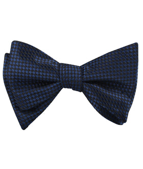 Navy Blue Basket Weave Checkered Self Bow Tie