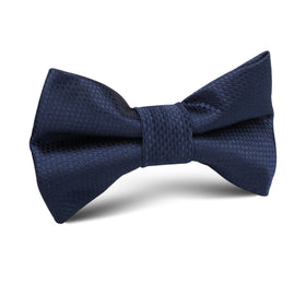 Navy Blue Basket Weave Kids Bow Tie