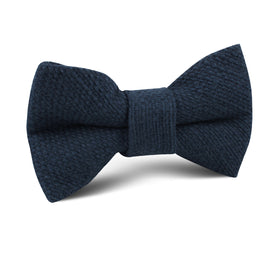 Navy Blue Basket Weave Linen Kids Bow Tie