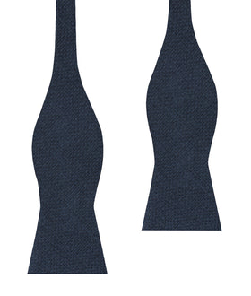 Navy Blue Basket Weave Linen Self Bow Tie