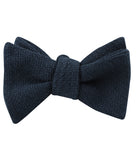 Navy Blue Basket Weave Linen Self Tied Bow Tie