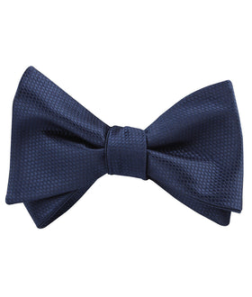 Navy Blue Basket Weave Self Bow Tie