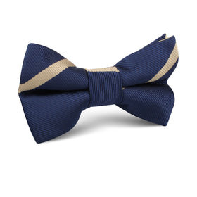 Navy Blue Champagne Gold Striped Kids Bow Tie