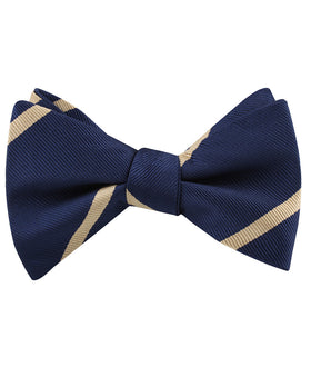 Navy Blue Champagne Gold Striped Self Bow Tie