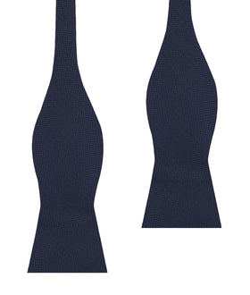 Navy Blue Diagonal Herringbone Self Bow Tie
