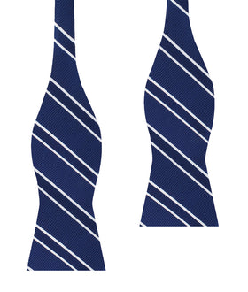 Navy Blue Double Stripe Self Bow Tie