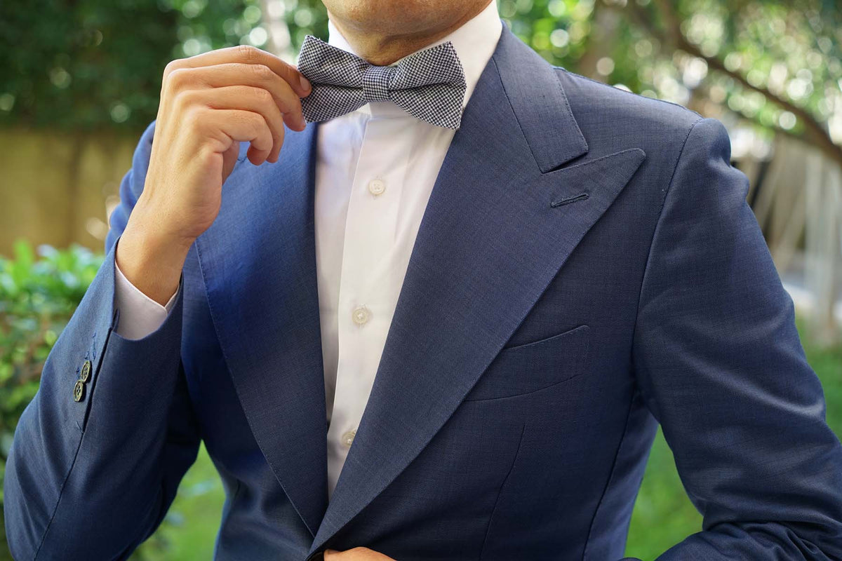 Navy Blue Houndstooth Linen Bow Tie