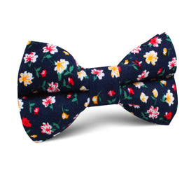 Navy Blue Liberty Floral Flower Kids Bow Tie