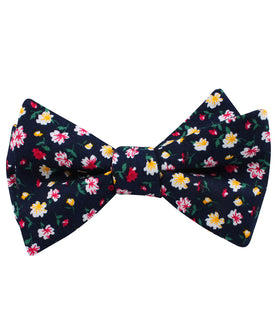 Navy Blue Liberty Floral Flower Self Bow Tie