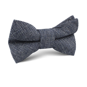 Navy Blue Needle Stitch Linen Kids Bow Tie