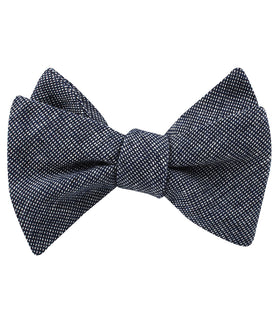 Navy Blue Needle Stitch Linen Self Bow Tie
