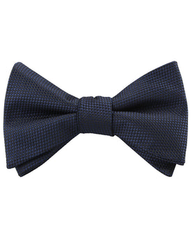 Navy Blue Oxford Stitch Self Bow Tie