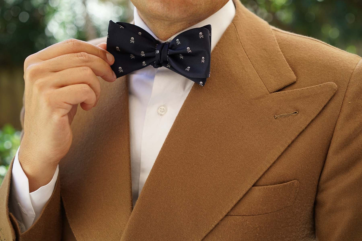 Navy Blue Pirate Skull Self Tie Bow Tie