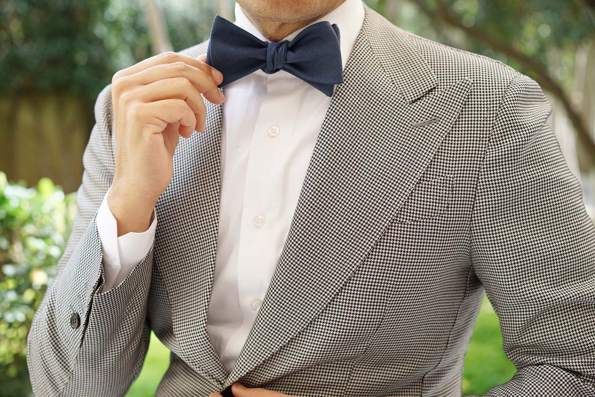 Navy Blue Slub Linen Self Tie Bow Tie