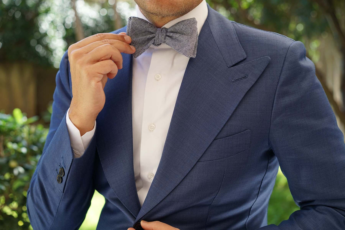 Navy Blue Tweed Linen Stitching Self Tie Bow Tie
