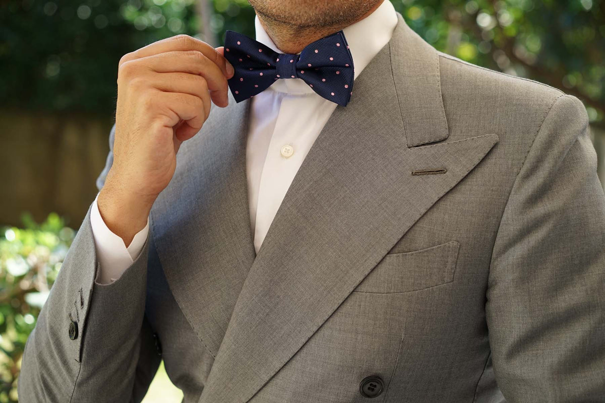 Navy Blue with Pink Polka Dots - Bow Tie