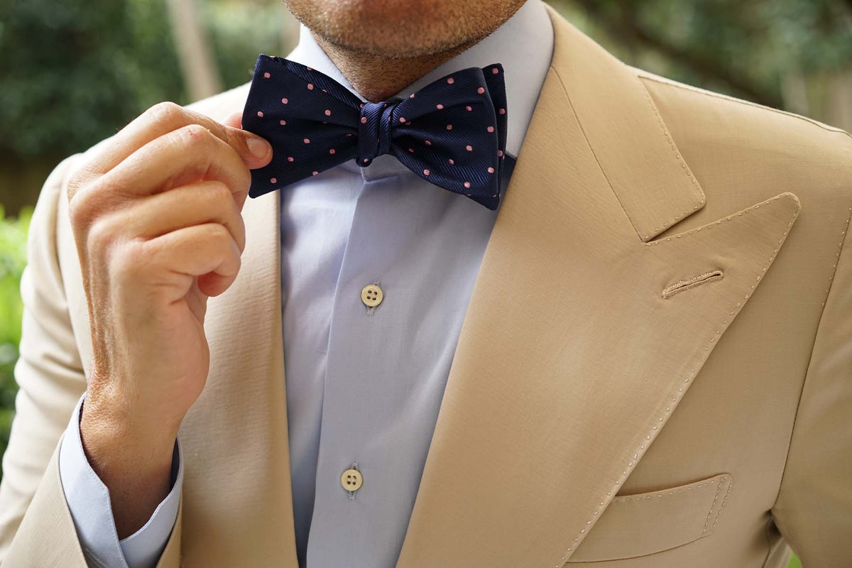 Navy Blue with Pink Polka Dots - Bow Tie (Untied)