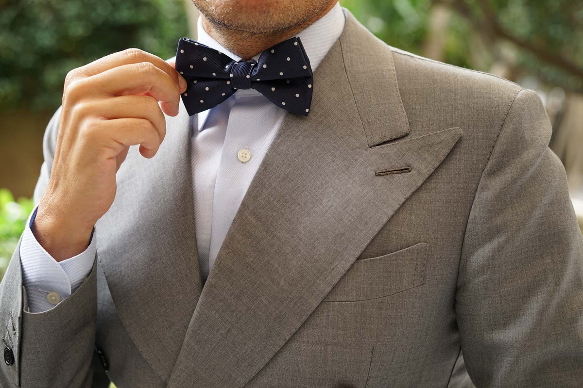 Navy Blue with White Polka Dots - Bow Tie