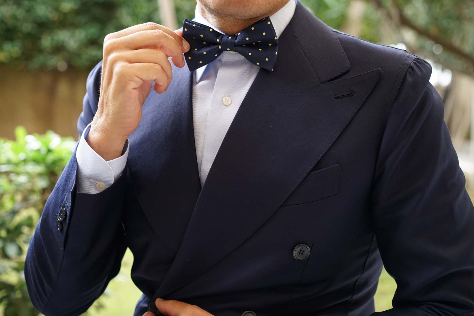 Navy Blue with Yellow Polka Dots Bow Tie